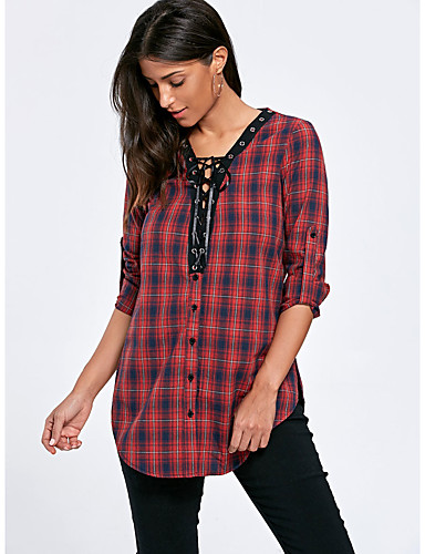 billige Topper til damer-Skjorte Dame - Stripet, Sløyfe / Blondér Vintage Svart & Rød Rød