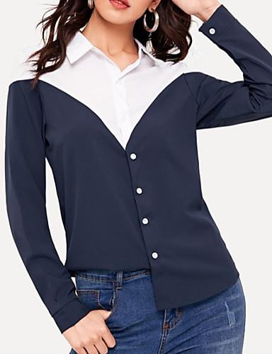 billige Dametopper-Skjorte Dame - Ensfarget Gatemote / Elegant BLå & Hvit Marineblå