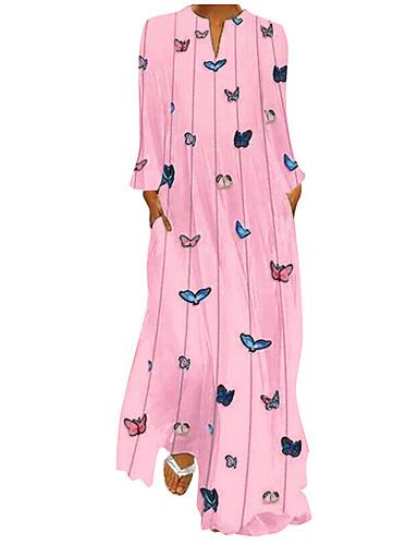 voordelige Maxi-jurken-Dames Standaard Boho Abaya Kaftan Jurk - dier Tie Dye, Print Midi Vlinder