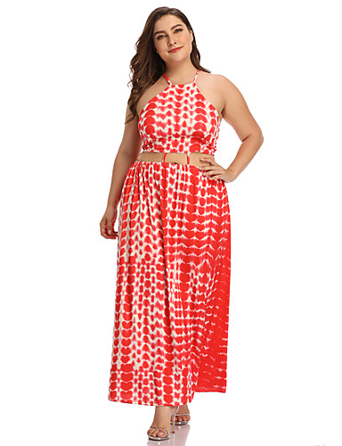 voordelige Grote maten jurken-Dames Boho Wijd uitlopend Jurk - Tie Dye, Veters Maxi