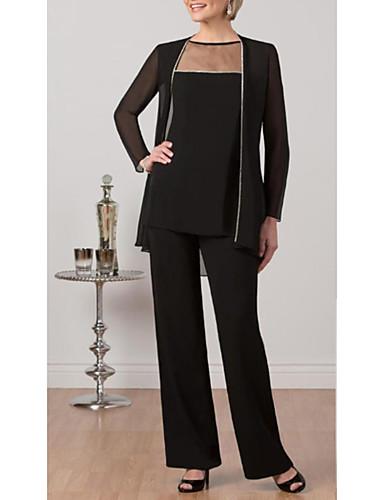 voordelige Wrap Dresses-Tweedelig / pantsuit Met sieraad Tot de enkel Chiffon / Tule Bruidsmoederjurken met Ruches door LAN TING Express / Wrap inbegrepen