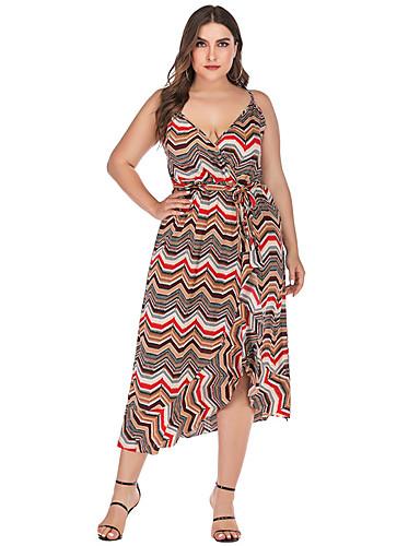 voordelige Grote maten jurken-Dames Standaard A-lijn Jurk - Geometrisch, Blote rug Veters Print Asymmetrisch