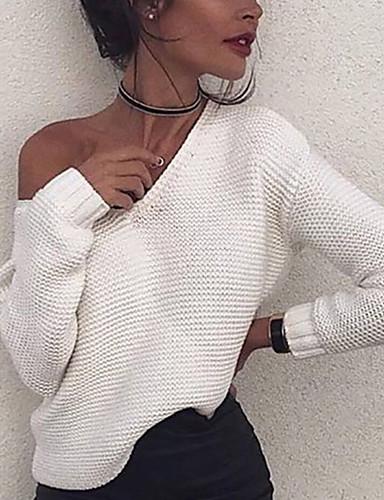Kadın's Solid Uzun Kollu Kazak, V Yaka Beyaz S / M / L