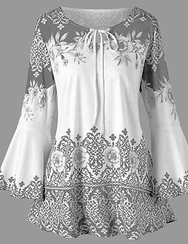 billige Dametopper-tunika Dame - Blomstret / Geometrisk, Lapper / Trykt mønster Grunnleggende Svart