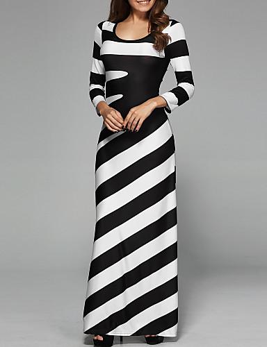 billige Kjoler-Dame Grunnleggende A-linje Kjole - Stripet, Trykt mønster Maksi