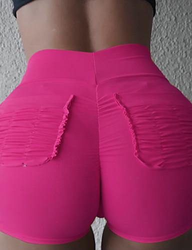 billige Tights til damer-Dame Grunnleggende Shorts Bukser - Ensfarget Svart Hvit Rosa S M L