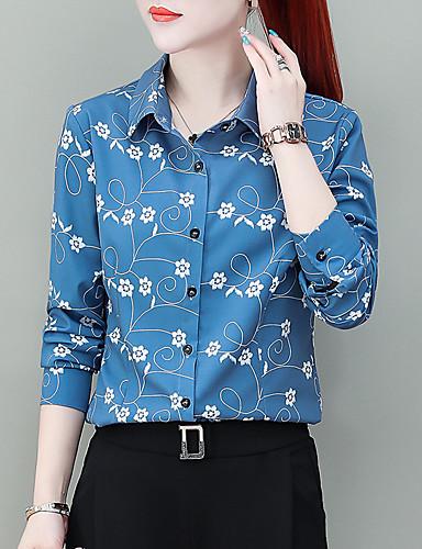 billige Topper til damer-Skjorte Dame - Blomstret, Trykt mønster Chinoiserie Hvit