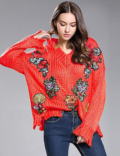 abordables Hauts pour Femmes-Femme Fleur Manches Longues Pullover, Col en V Automne / Hiver Blanche / Jaune / Rouge Taille unique