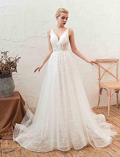 abordables Robes de Mariée 2019-Trapèze Col en V Traîne Tribunal Tulle Robes de mariée sur mesure avec Appliques par LAN TING Express