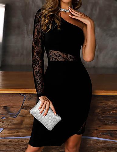 abordables Robes Femme-Femme Mi-long Gaine Robe Couleur Pleine Noir S M L Manches Longues
