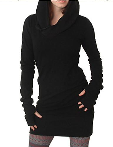 abordables Robes Femme-Femme Basique Au dessus du genou Gaine Robe Couleur Pleine Noir S M L Manches Longues