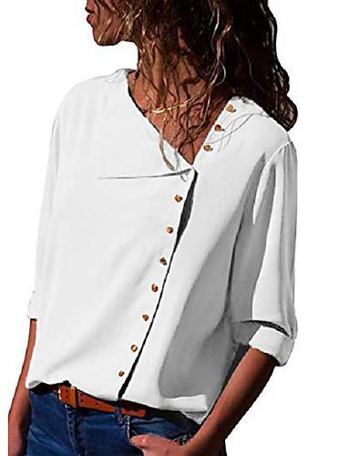 Kadın's Gömlek Solid Zarif Beyaz