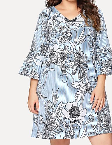 voordelige Grote maten jurken-Dames Standaard Boho A-lijn Jurk - Bloemen, Ruche Boven de knie Tropisch blad