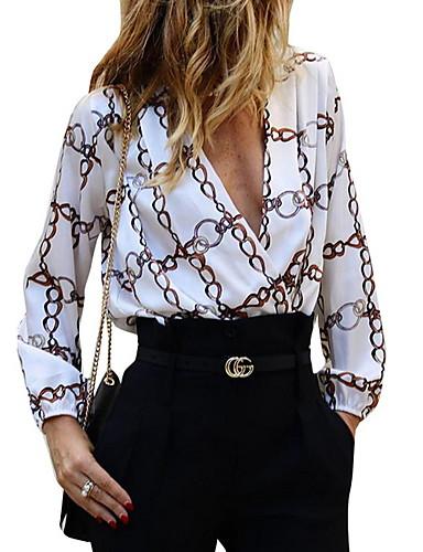 Kadın's Tişört Geometrik Beyaz