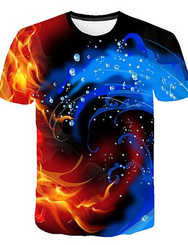 Erkek Tişört Desen, 3D / Grafik Sokak Şıklığı / Abartılı Gökküşağı