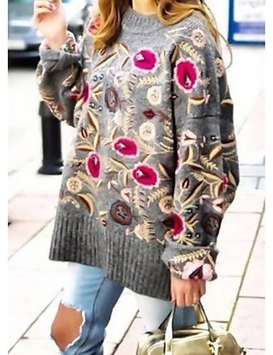 abordables Hauts pour Femmes-Femme Fleur Manches Longues Pullover, Col Arrondi Gris M / L / XL