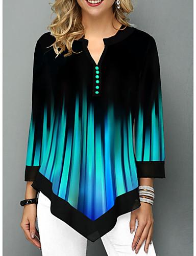 povoljno Ženske majice-Bluza Žene - Osnovni Dnevno Color block Plava