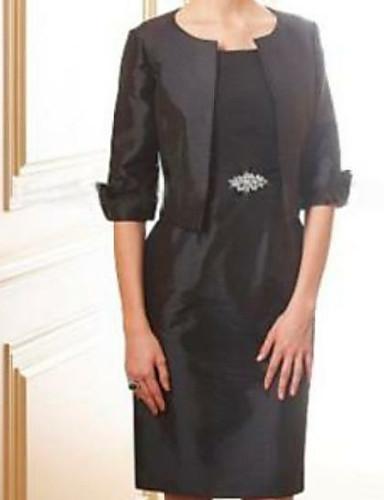 voordelige Wrap Dresses-Strak / kolom / Tweedelig Met sieraad Tot de knie Satijn Bruidsmoederjurken met Kristaldetails door LAN TING Express / Wrap inbegrepen