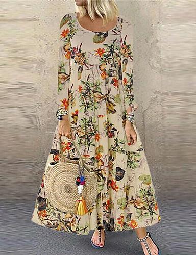 billige Kjoler-Dame Bohem Elegant Swing Kjole - Blomstret, Trykt mønster Maksi