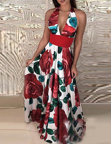 abordables Robes à Motifs à fleurs-Femme Basique Maxi Trapèze Robe - Imprimé, Fleur Rouge S M L Sans Manches