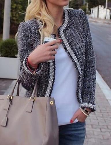 abordables Manteaux & Vestes Femme-Femme Quotidien Printemps & Automne Normal Manteau, Couleur Pleine Col Arrondi Manches Longues Polyester Gris M / L / XL