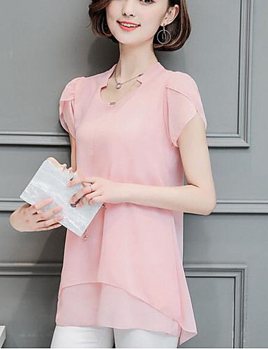 abordables Hauts pour Femmes-Tee-shirt Femme, Couleur Pleine A Volants Business / Basique Noir