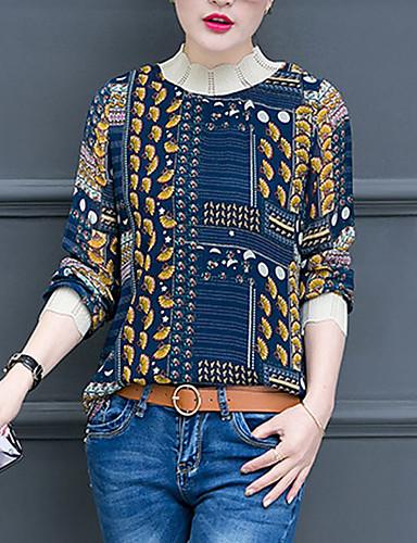 billige Topper til damer-T-skjorte Dame - Geometrisk, Lapper / Trykt mønster Vintage / Gatemote Hvit
