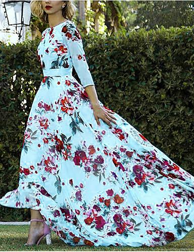 povoljno Ženske haljine-Žene Osnovni A kroj Haljina Cvjetni print Asimetričan