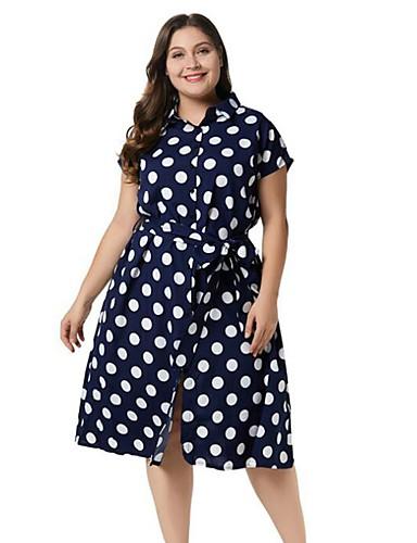 voordelige Grote maten jurken-Dames Overhemd Jurk - Polka dot Tot de knie