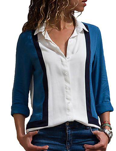 abordables Hauts pour Femme-Chemise Femme, Bloc de Couleur Rétro Vintage / Elégant Bleu & blanc Blanche