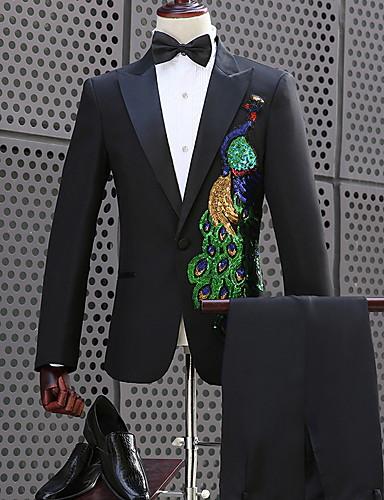 Erkek Suit, Geometrik Gömlek Yaka Polyester Siyah US32 / UK32 / EU40 / US34 / UK34 / EU42 / US36 / UK36 / EU44