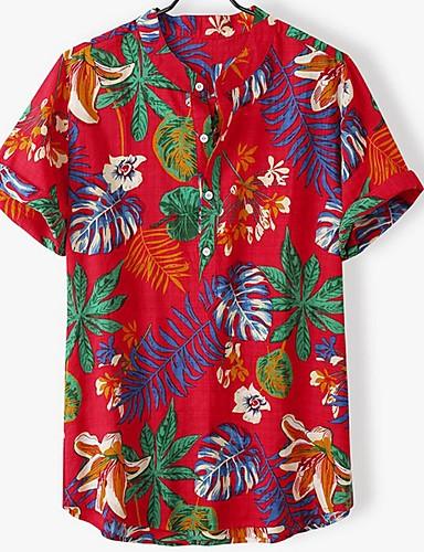 voordelige Herenoverhemden-Heren Standaard Overhemd Gestreept / Kleurenblok Geel