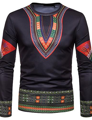 voordelige Heren T-shirts & tanktops-Heren Standaard / Elegant T-shirt Effen / Tribal Zwart
