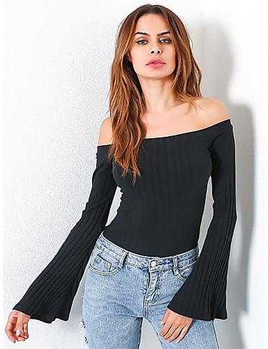 abordables Hauts pour Femmes-Tee-shirt Femme, Couleur Pleine Noir