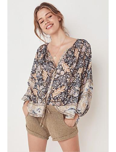 billige Dametopper-T-skjorte Dame - Blomstret / Geometrisk / Batikkfarget, Trykt mønster Bohem / Gatemote Tropisk blad / Svart Svart