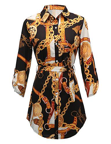 billige Kjoler-Dame Grunnleggende Skjede Skjorte Kjole - Geometrisk Mini