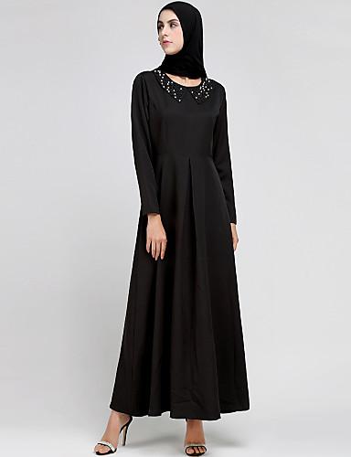 abordables Robes Femme-Femme Bohème Maxi Abaya Robe - Perlé, Couleur Pleine Noir M L XL Manches Longues