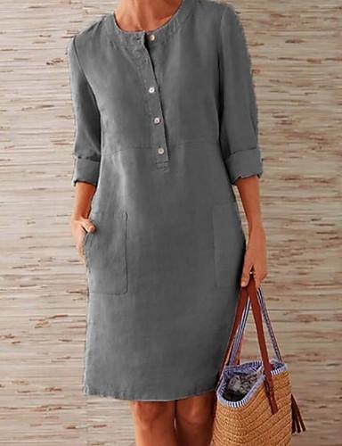 hesapli Kadın Elbiseleri-Kadın's A Şekilli Elbise - Solid Diz-boyu