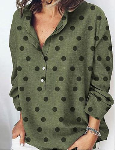 billige Dametopper-Skjorte Dame - Polkadotter Oransje