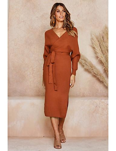 abordables Robes Femme-Femme Chic de Rue Sophistiqué Midi Gaine Robe - Fendu, Couleur Pleine Noir Rose Claire Orange S M L Manches Longues