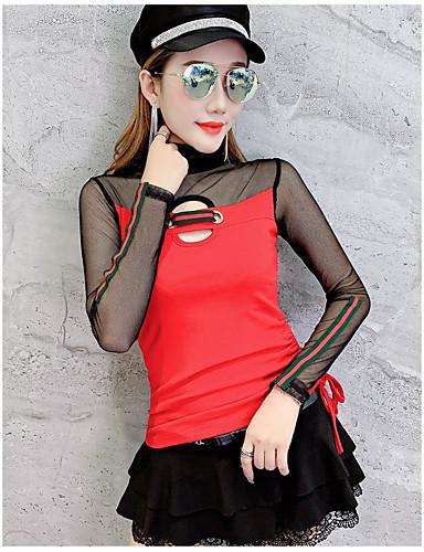 abordables Hauts pour Femme-Tee-shirt Femme, Bloc de Couleur Mosaïque Chic de Rue / Elégant Noir