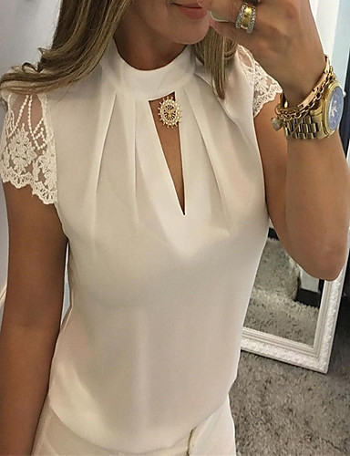 billige Dametopper-Skjorte Dame - Ensfarget, Blonde / Lapper Grunnleggende / Elegant Svart / Hvit / Rød Svart