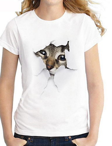 billige Topper til damer-T-skjorte Dame - Geometrisk, Trykt mønster Grunnleggende Hvit