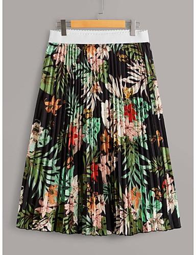abordables Jupes-Femme Grandes Tailles Basique Bohème Balançoire Jupes - Fleur Plissé Vert XL XXL XXL / Ample