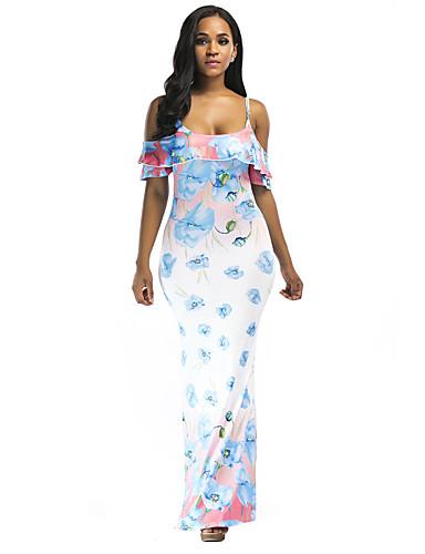 abordables Robes Femme-Femme Elégant Asymétrique Trapèze Courte Robe Fleur Géométrique Rose Claire Bleu S M L Sans Manches