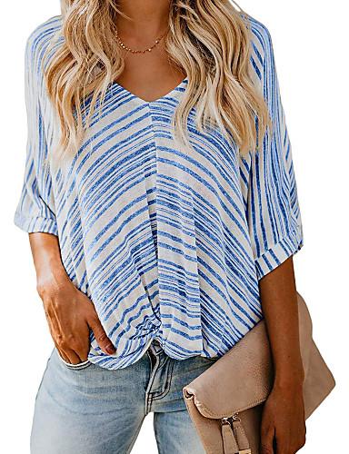abordables Hauts pour Femme-Tee-shirt Femme, Rayé Basique Bleu & blanc / Noir & Blanc Noir