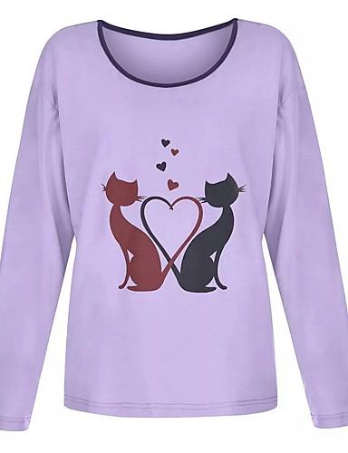 abordables Hauts pour Femmes-Tee-shirt Femme, Couleur Pleine / Animal Chat Violet