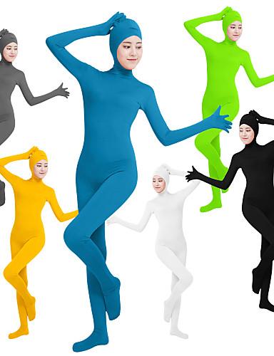 halpa Zentai-Zentai asut Kissapuku Ihon puku Ninja Cosplay Aikuisten Lycra® Cosplay-asut Sukupuoli Naisten Musta / Vihreä / Valkoinen Yhtenäinen väri / Erittäin elastinen