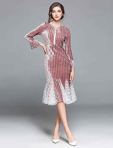 abordables Robes de Fête-Trompette / Sirène Bijoux Mi-long Velours Soirée Cocktail Robe avec Noeud(s) par LAN TING Express