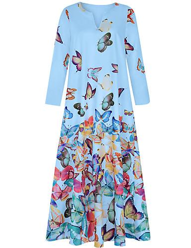 abordables Robes Femme-Femme Rétro Vintage Maxi Trapèze Robe - Imprimé, Animal Papillon Bleu clair Blanche Rose Claire S M L Sans Manches